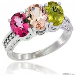 14K White Gold Natural Pink Topaz, Morganite & Lemon Quartz Ring 3-Stone 7x5 mm Oval Diamond Accent