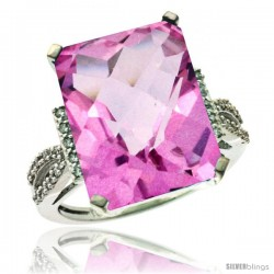 14k White Gold Diamond Pink Topaz Ring 12 ct Emerald Shape 16x12 Stone 3/4 in wide