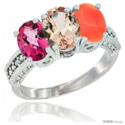14K White Gold Natural Pink Topaz, Morganite & Coral Ring 3-Stone 7x5 mm Oval Diamond Accent
