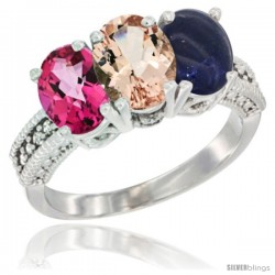 14K White Gold Natural Pink Topaz, Morganite & Lapis Ring 3-Stone 7x5 mm Oval Diamond Accent