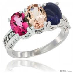14K White Gold Natural Pink Topaz, Morganite & Lapis Ring 3-Stone 7x5 mm Oval Diamond Accent