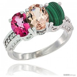 14K White Gold Natural Pink Topaz, Morganite & Malachite Ring 3-Stone 7x5 mm Oval Diamond Accent