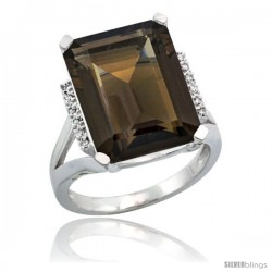 Sterling Silver Diamond Natural Smoky Topaz Ring 12 ct Natural Emerald Cut 16x12 stone 3/4 in wide