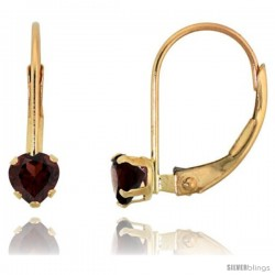 10k Yellow Gold Natural Garnet Leverback Heart Earrings 4mm January Birthstone, 9/16 in tall