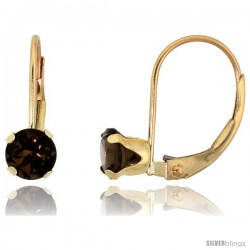 10k Yellow Gold Natural Garnet Leverback Earrings 5mm Brilliant Cut January Birthstone, 9/16 in tall