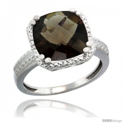 Sterling Silver Diamond Natural Smoky Topaz Ring 5.94 ct Checkerboard Cushion 11 mm Stone 1/2 in wide