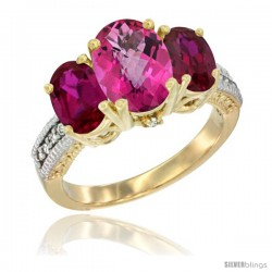 14K Yellow Gold Ladies 3-Stone Oval Natural Pink Topaz Ring with Ruby Sides Diamond Accent