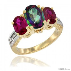 14K Yellow Gold Ladies 3-Stone Oval Natural Mystic Topaz Ring with Ruby Sides Diamond Accent