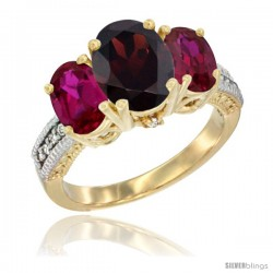 14K Yellow Gold Ladies 3-Stone Oval Natural Garnet Ring with Ruby Sides Diamond Accent