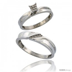 Sterling Silver 2-Piece Diamond wedding Engagement Ring Set for Him & Her Rhodium finish, 3.5mm & 5mm wide