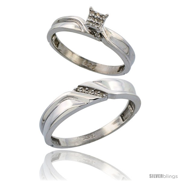 Sterling Silver 2 Piece Diamond wedding Engagement Ring Set for Him & Her