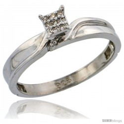 Sterling Silver Diamond Engagement Ring Rhodium finish, 1/8 in wide -Style Ag008er