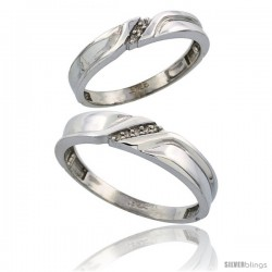 Sterling Silver Diamond 2 Piece Wedding Ring Set His 5mm & Hers 3.5mm Rhodium finish