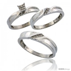 Sterling Silver Diamond Trio Wedding Ring Set His 5mm & Hers 3.5mm Rhodium finish