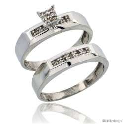 Sterling Silver Ladies' 2-Piece Diamond Engagement Wedding Ring Set Rhodium finish, 3/16 in wide -Style Ag009e2