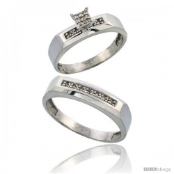 Sterling Silver 2-Piece Diamond wedding Engagement Ring Set for Him & Her Rhodium finish, 4.5mm & 5mm wide -Style Ag009em