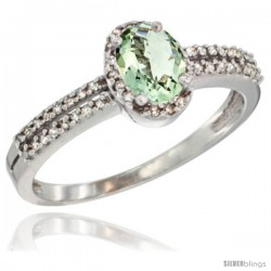 10K White Gold Natural Green Amethyst Ring Oval 6x4 Stone Diamond Accent -Style Cw902178