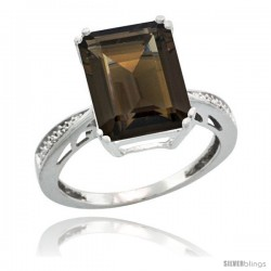 Sterling Silver Diamond Natural Smoky Topaz Ring 5.83 ct Emerald Shape 12x10 Stone 1/2 in wide -Style Cwg07149