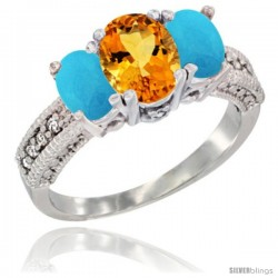 14k White Gold Ladies Oval Natural Citrine 3-Stone Ring with Turquoise Sides Diamond Accent