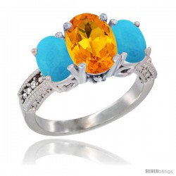 14K White Gold Ladies 3-Stone Oval Natural Citrine Ring with Turquoise Sides Diamond Accent