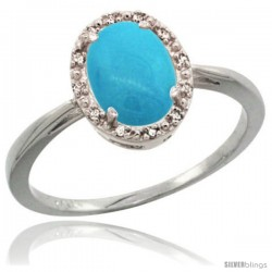 14k White Gold Diamond Sleeping Beauty Turquoise Halo Ring 8X6 mm Oval Shape, 1/2 in wide