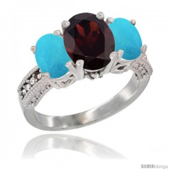 14K White Gold Ladies 3-Stone Oval Natural Garnet Ring with Turquoise Sides Diamond Accent
