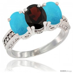 14K White Gold Natural Garnet & Turquoise Sides Ring 3-Stone 7x5 mm Oval Diamond Accent
