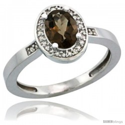 Sterling Silver Diamond Natural Smoky Topaz Ring 1 ct 7x5 Stone 1/2 in wide