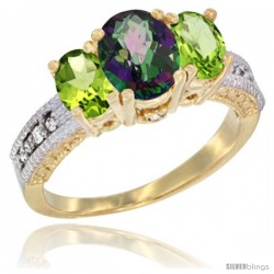 10K Yellow Gold Ladies Oval Natural Mystic Topaz 3-Stone Ring with Peridot Sides Diamond Accent