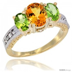 10K Yellow Gold Ladies Oval Natural Citrine 3-Stone Ring with Peridot Sides Diamond Accent