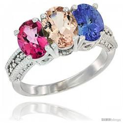14K White Gold Natural Pink Topaz, Morganite & Tanzanite Ring 3-Stone 7x5 mm Oval Diamond Accent