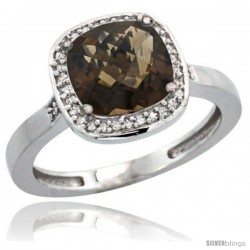 Sterling Silver Diamond Natural Smoky Topaz Ring 2.08 ct Checkerboard Cushion 8mm Stone 1/2.08 in wide