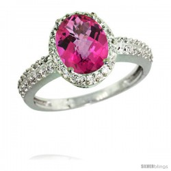 14k White Gold Diamond Pink Topaz Ring Oval Stone 9x7 mm 1.76 ct 1/2 in wide
