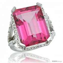 14k White Gold Diamond Pink Topaz Ring 14.96 ct Emerald shape 18x13 Stone 13/16 in wide