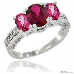 14k White Gold Ladies Oval Natural Ruby 3-Stone Ring with Pink Topaz Sides Diamond Accent
