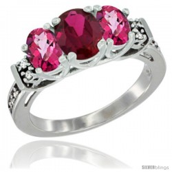 14K White Gold Natural High Quality Ruby & Pink Topaz Ring 3-Stone Oval with Diamond Accent