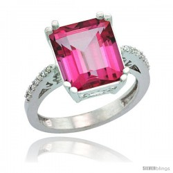 14k White Gold Diamond Pink Topaz Ring 5.83 ct Emerald Shape 12x10 Stone 1/2 in wide