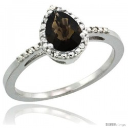 Sterling Silver Diamond Natural Smoky Topaz Ring 0.59 ct Tear Drop 7x5 Stone 3/8 in wide