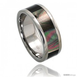 Titanium 8mm Wedding Band Ring Mother of Pearl Inlay Comfort-fit