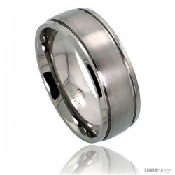 Titanium 8mm Wedding Band Ring 2 Grooves Matte Center Comfort-fit