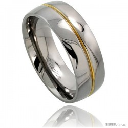 Titanium 8mm Dome Wedding Band Ring Grooved Gold Center High Polished finish Comfort-fit