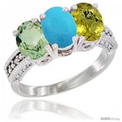 10K White Gold Natural Green Amethyst, Turquoise & Lemon Quartz Ring 3-Stone Oval 7x5 mm Diamond Accent