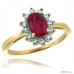 14k Yellow Gold Diamond Halo Ruby Ring 0.85 ct Oval Stone 7x5 mm, 1/2 in wide