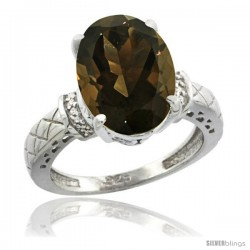 Sterling Silver Diamond Natural Smoky Topaz Ring 5.5 ct Oval 14x10 Stone