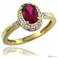 14k Yellow Gold Diamond Ruby Ring 1 ct 7x5 Stone 1/2 in wide