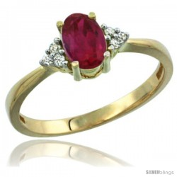14k Yellow Gold Ladies Natural Ruby Ring oval 7x5 Stone Diamond Accent