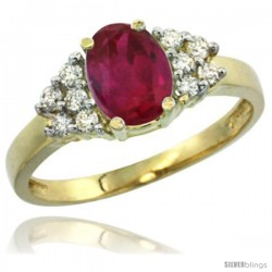 14k Yellow Gold Ladies Natural High Quality Ruby Ring oval 8x6 Stone Diamond Accent