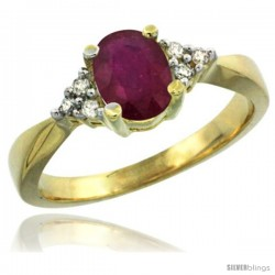 14k Yellow Gold Ladies Natural Ruby Ring oval 7x5 Stone Diamond Accent -Style Cy414168