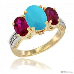 14K Yellow Gold Ladies 3-Stone Oval Natural Turquoise Ring with Ruby Sides Diamond Accent