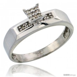 Sterling Silver Diamond Engagement Ring Rhodium finish, 3/16 in wide -Style Ag009er